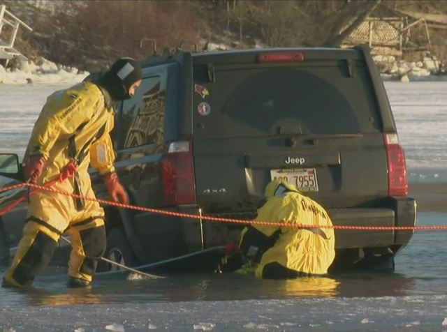 Ice swallows cars at Lake Geneva's Winterfest