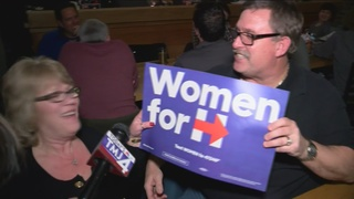 Clinton, Sanders supporters rally during debate