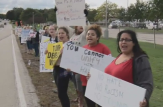 Protesters gather outside Waukesha Trump rally