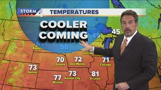 Sunny, but cooler Monday ahead