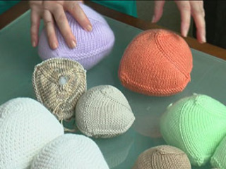 Volunteers knit unique items for cancer patients