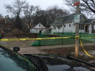 Crew unearths part of what appears to be skull