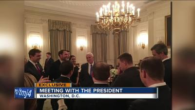 Vice President Mike Pence meets with local reporters at a White House dinner.