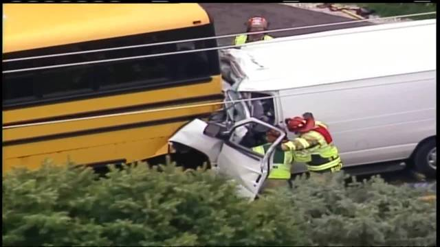 One person died Friday morning after a van rear-ended a school bus in the Town of Salem near Kenosha police say