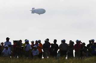 Blimp catches fire and crashes near U.S. Open