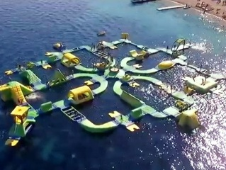 Massive floating waterpark open on Lake Michigan