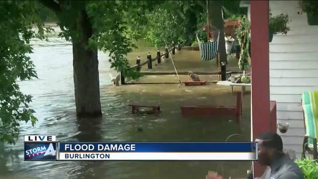 burlington slammed by heavy rains  fox river waters flood homes