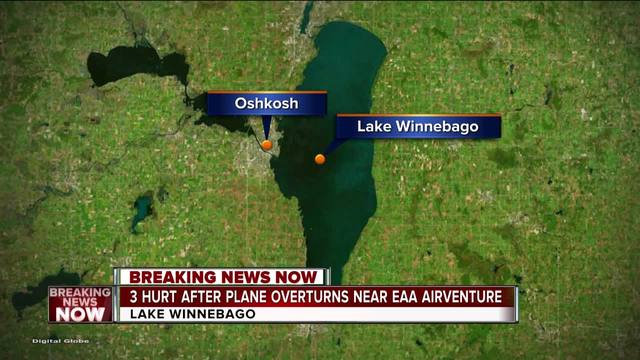 Three hospitalized after plane overturns on Lake Winnebago near EAA AirVenture