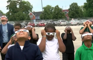 Students at Starms study solar eclipse