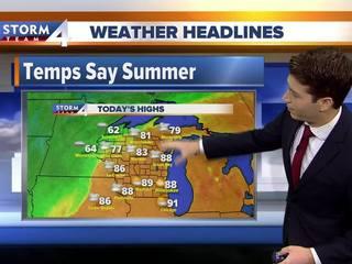 Hot and humid weather sticks around Monday