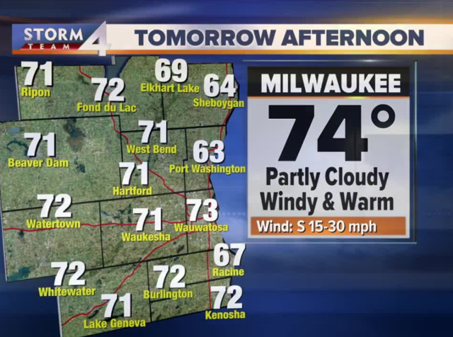 Cloudy and breezy Saturday