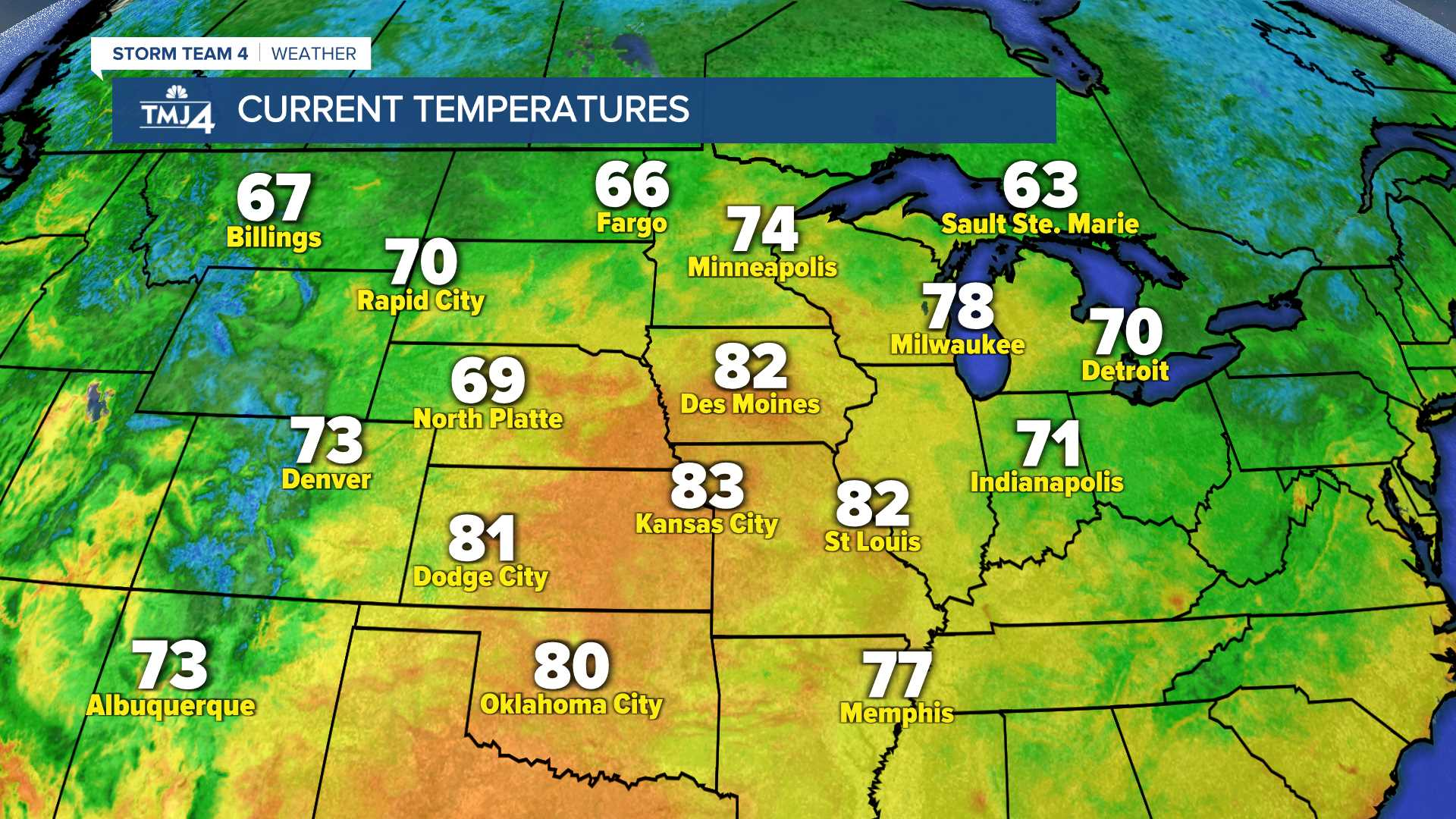 Midwest Current Temperatures