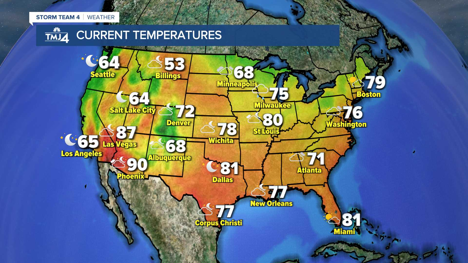 US Current Temperatures