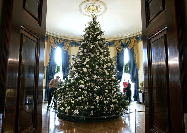 washington november 30 white lilies and crystal spheres cover the white house christmas tree during the media preview of the 2005 holiday decorations and - White House Christmas Decorations 2016