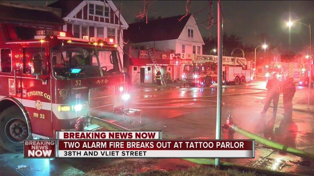 Vehicle fire spreads to milwaukee tattoo shop tmj4 for Fire and ice tattoo shop