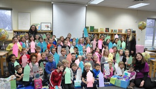 2nd graders help with Community Baby Shower
