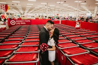 Couple takes engagement photos at Target