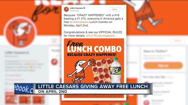 Little Caesar's offering free lunch after NCAA Tournament promise