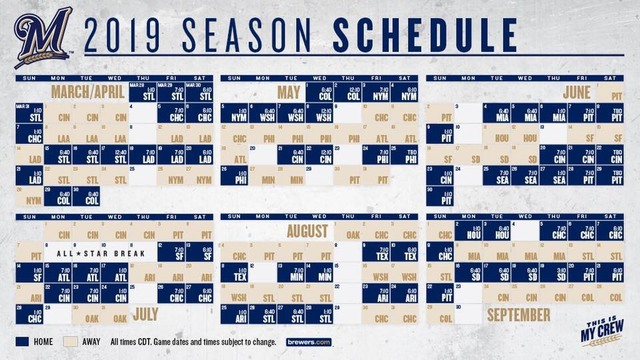 Milwaukee Brewers Announce 2019 Season Schedule Tmj4