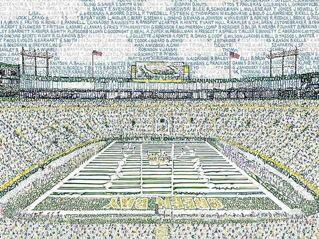 artist recreates lambeau field by handwriting names of