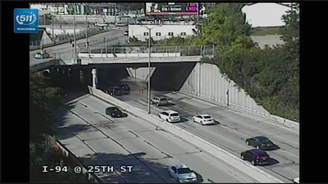 Water main break closes 2 right lanes on I-94