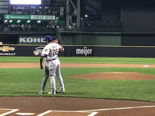 Yelich's brother throws out 1st pitch [PHOTOS]